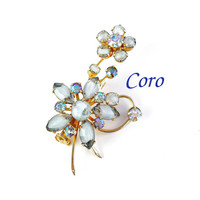 Vintage CORO Aurora Borealis AB Rhinestone & Givre Glass Brooch, Designer Blue Flowers, Gold Gray Blue Rainbows, Lapel Scarf Spring Summer