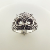 Vintage Owl Ring in Sterling Silver