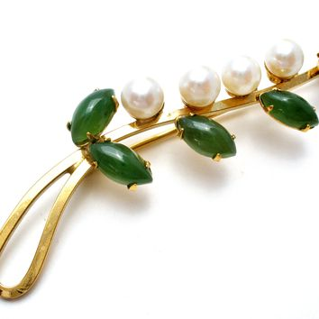 Jade & Pearl Gold Filled Brooch Pin Vintage