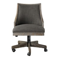 Aidrian Transitional Charcoal Gray Linen Desk Chair on Casters by Uttermost