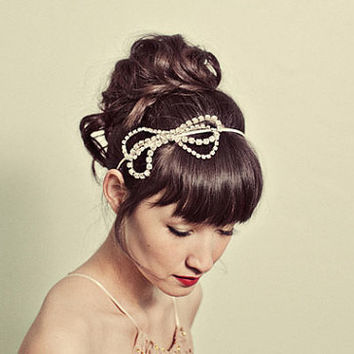 rhinestone bow headband style 122 by mignonnehandmade on Etsy