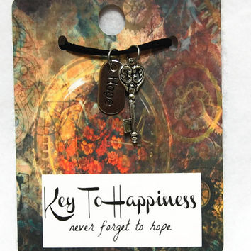 Keys To Happiness - Never Forget To Hope, Key Charm, Key Necklace, Antique Key,Skeleton Key, Stocking Stuffer,Party Favor,Wedding Favor