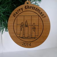Personalized Merry Christmas 2014 ornament wood engraved candles Christmas message  gift