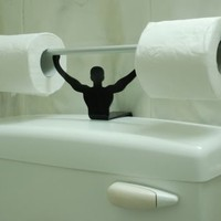 Strong Man Bathroom Novelty Toilet Paper / Tissue Roll Holder - Black