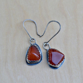 Carnelian Oxidized Earrings, Rustic Sterling Silver Bezel Set Earrings, Mismatched, Boho, Gypsy Bohemian, Hippie, Unique, OOAK