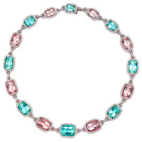 LAURA MUNDER Mint Green Tourmaline,Morganite and Diamond Necklac