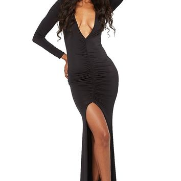 Black Plunge Long Dress