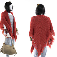 Coral Fringe Shawl Wrap Coat Large Vintage Knit Scarf