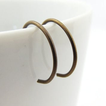 Tiny Bronze Niobium Hoop Earrings, Bronze Backward Hoop Earrings