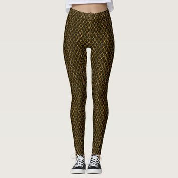 Golden Brown Scissors / Scissor Stripes Leggings