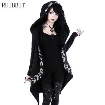 2018 Gothic Girls Casual Witch Moon Printed  Women Black Long Sleeve  Loose Hoodie Coat Cotton Female Punk Hoodies Plus Size