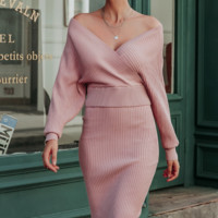 Autumn and winter knitted two-piece dress Fashion dress tight women's V-neck bag hip skirt