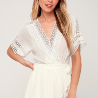 Rylen White Lace Swim Romper Cover-Up