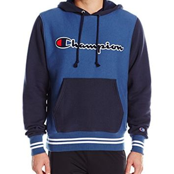 Champion Men's Life Reverse Weave Color Block Pullover Hoodie