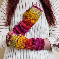 Long Fingerless Gloves, Open Finger Gloves, Winter Knitted Gloves, Long Arm Warmers, Winter Gloves For Women,Christmas Gift For Coworker