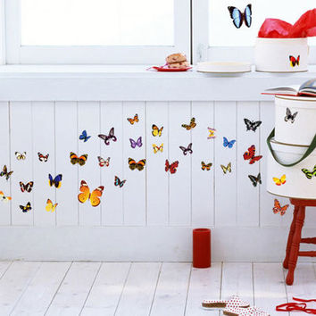 The butterfly Fashion home decoration can remove PVC wall stickers in the wall to stick on the wall SM6