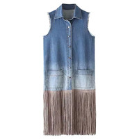 Sleeveless Denim Fringe Vest