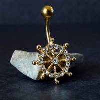 Gold Ship Wheel Belly Ring (14G)