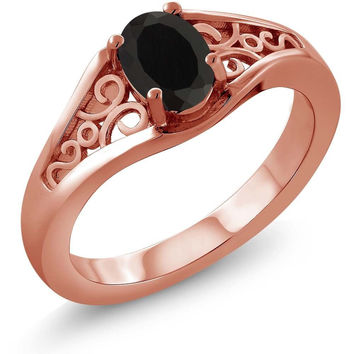 Oval Black Onyx 18K Rose Gold Plated Silver Ring