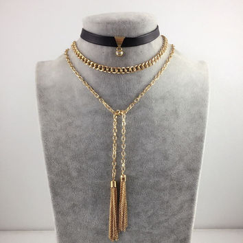 Punk Style Crystal Choker Necklace Multilayer Gold Plated Long tassel chain Necklace Black Leather Chocker Collier Femme