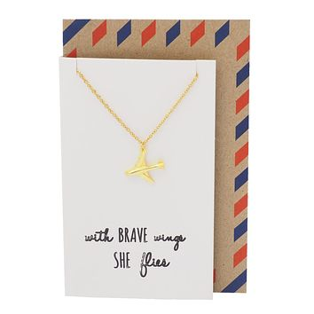 Janice She's Brave Necklace with Airplane Pendant, with Inspirational Quote