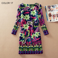 long sleeve Fall Dresses Vintage Floral Print Women Dress Casual Autumn Dress Plus size Clothes