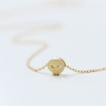 Delicate tiny gold skull - 14k gold filled necklace - everyday simple