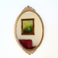 1930s MATSON Mirror Gild Gilt Oval, Filligree Frame, Collectable Ornate Flowers, Mid century Vanity Dresser Wall Mirror