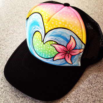 Handpainted Love Waves Trucker Hat