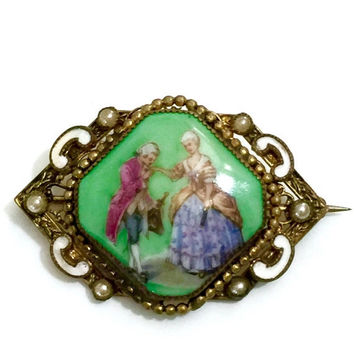 Czechoslovakia Courting Couple Brooch, Signed Czech Glass Transfer Portrait Brooch, White Enamel Accent, Faux Pearls, Ornate Gilt Metal Work
