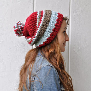 Peppermint Chunky Wool Textured Slouchy Hat with PomPom - Fairisle red, blue, brown