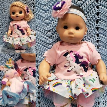 "Baby Doll Clothes Will fit Bitty Baby® Cabbage Patch® Baby Alive® ""Unicorn Prance"" 15 inch outfit dress pants socks headband R12"