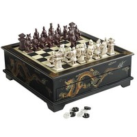 Black Dragon Chess & Checker Set