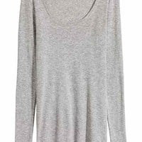 Long-sleeved jersey top - Light grey marl - Ladies | H&M GB