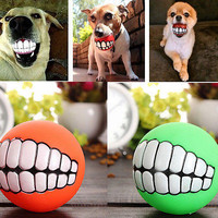 Teeth Toys Ball Durable Treat Bite Fetch Ball Funny Pet Dog Puppy Smile Cat EW