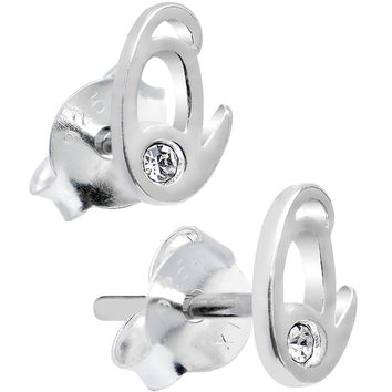 925 Sterling Silver Clear Cubic Zirconia Q Initial Stud Earrings