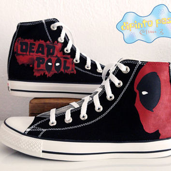 Deadpool Hand Painted Custom Shoes