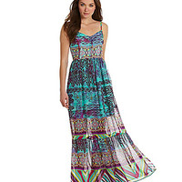 Betsey Johnson Mixed-Print Maxi Dress | Dillards.com