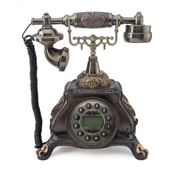 LNC Retro Vintage Antique Push Button Dial Desk Phone Corded Telephone Home D¨¦cor