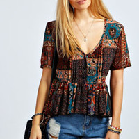 Chelsea Woven Button Detail Paisley Smock Top