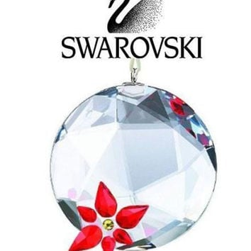 Swarovski Crystal Christmas Poinsettia Window Ornament Suncatcher #905214