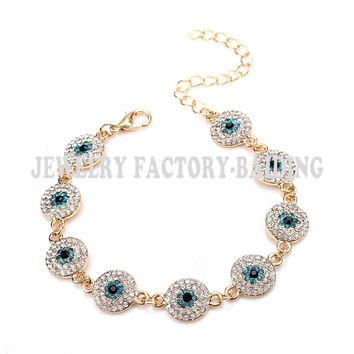 free shipping 2015 Fashion crystal paved blue evil eye hamsa turkish bracelet jewelry as wedding gift