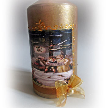 Vintage Christmas Candle. Christmas decorations. Gold Christmas. Vintage Christmas. Santa Claus . Gold Candle. Decoupaged Candle.