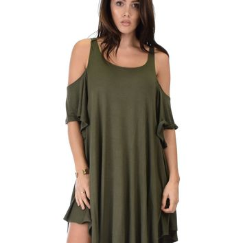 Lyss Loo Sun Kissed Cold Shoulder Draped Olive Tunic Dress