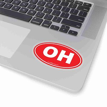 Ohio OH Euro Oval Sticker SOLID RED