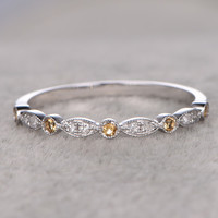 Natural Diamonds Wedding Bands Solid 14k White Gold Citrine ring Marquise Matching Band