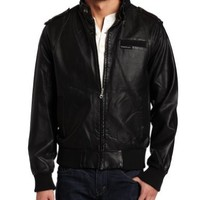 Members Only Mens Pu Bomber, Black, Medium