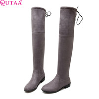 QUTAA Square Low Heel Woman Stretch Fabric Over The Knee Boots Women Shoes Bow Tie Ladies Motorcycle Boots Size 34-43
