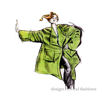 ORIGAMI COAT Designed Louise Cutting - Very Loose Fitting Knee-Length Wrap Cascading Drape Collar Coat Bust 32 to 48 UNCUT Sewing Patterns