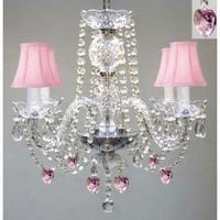 """CHANDELIER LIGHTING W/ CRYSTAL PINK SHADES & HEARTS! H 17"""" - PERFECT FOR KID'S AND GIRLS BEDROOM! W 17"""""""